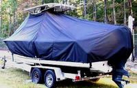 Photo of Sea Hunt® Ultra-234 20xx T-Top Boat-Cover with Power Pole, viewed from Port Rear