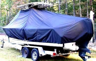 Sea Hunt Ultra 235, 20xx, TTopCovers™ T-Top boat cover with Power Pole, port rear