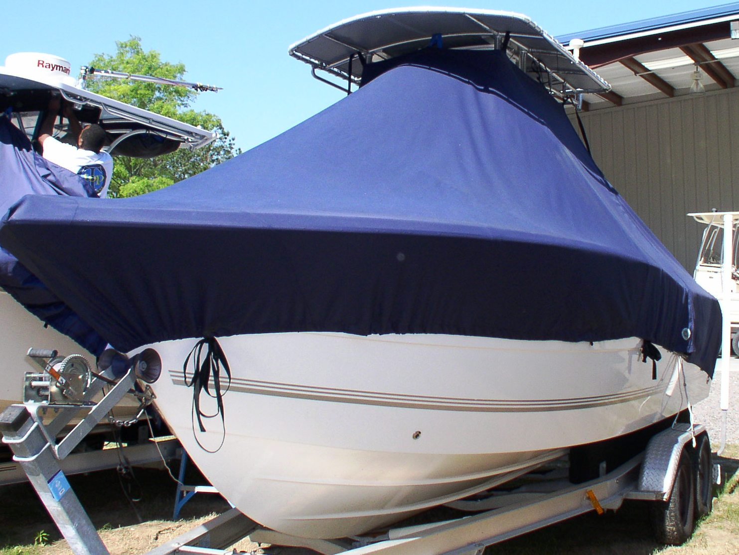 Sea Pro 238CC, 20xx, TTopCovers™ T-Top boat cover, port front