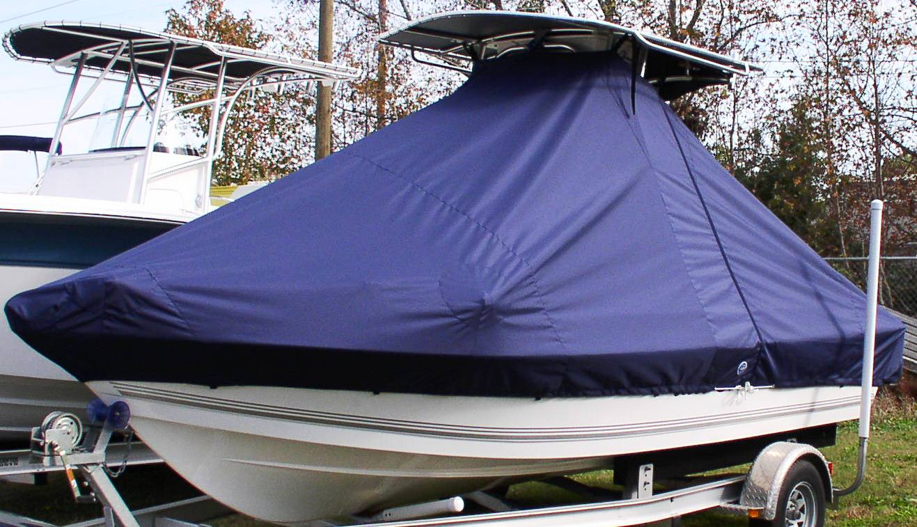 Sea Pro SV1900CC, 20xx, TTopCovers™ T-Top boat cover with Trolling Motor, port front