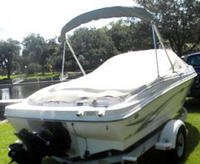 Photo of Sea Ray 176 Bowrider, 2002: Bimini Top in Boot, Cockpit Cover, viewed from Starboard Rear