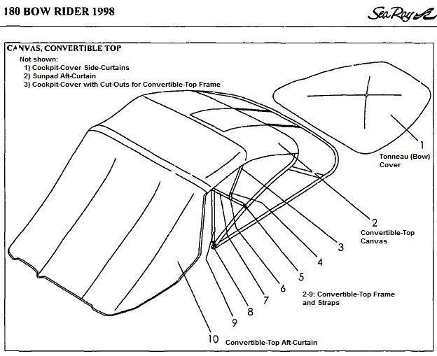 Convertible Top Canvas (Factory OEM) for Sea Ray® 180