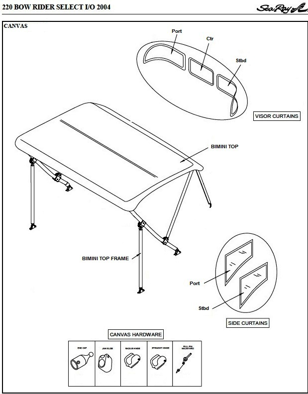 Bimini Side Curtains Factory Oem For Sea Ray 220 Bowrider Select
