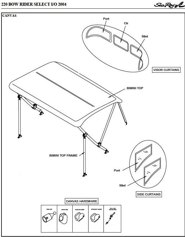 Bimini Visor Factory Oem For Sea Ray 220 Bowrider Select 2004