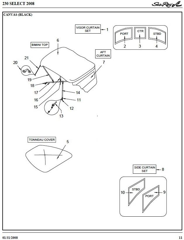 Sea Ray� 230 Select Bowcoveroemg07™ Factory: Parts Of A Ray Diagram At Scrins.org