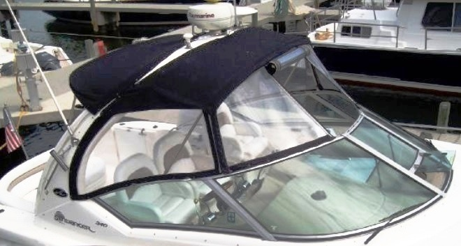 sea ray� 340 sundancer factory oem sunbrella� bimini top, visor, bimini-
