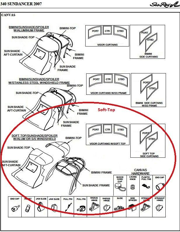 Bimini Visor (Factory OEM) for Sea Ray® 375 Sundancer Soft Top (2007 ...