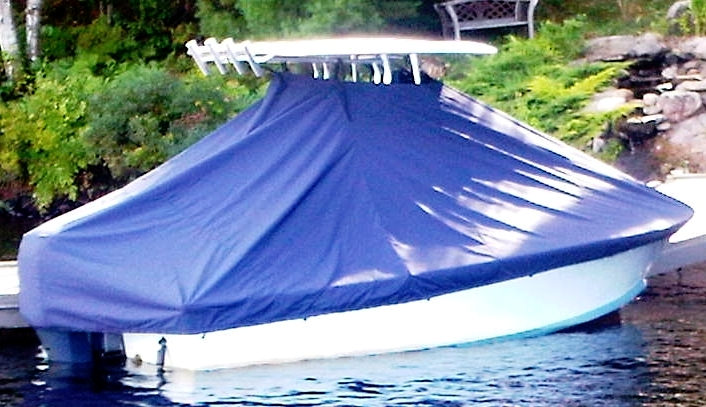 SeaCraft 23CC, 19xx, TTopCovers™ T-Top boat cover In the Water, starboard rear