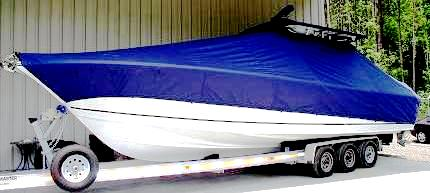 SeaCraft 32CC, 20xx, TTopCovers™ T-Top boat cover, port front