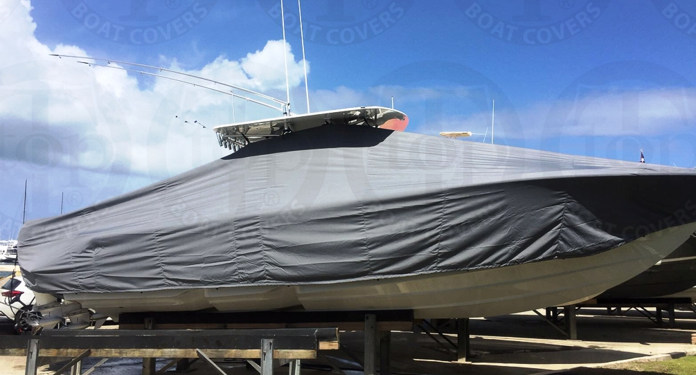 SeaVee 340Z, 20xx, TTopCovers™ T-Top boat cover, starboard side