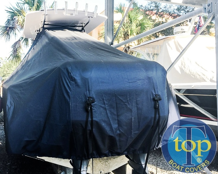 Southport 27CC, 20xx, TTopCovers™ T-Top boat cover rear