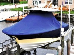 Southport 28 Tournament Edition, 20xx, TTopCovers™ T-Top boat cover on Lift, port front above