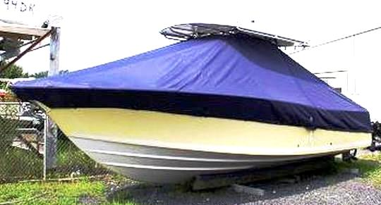 Southport 28CC, 20xx, TTopCovers™ T-Top boat cover, port front