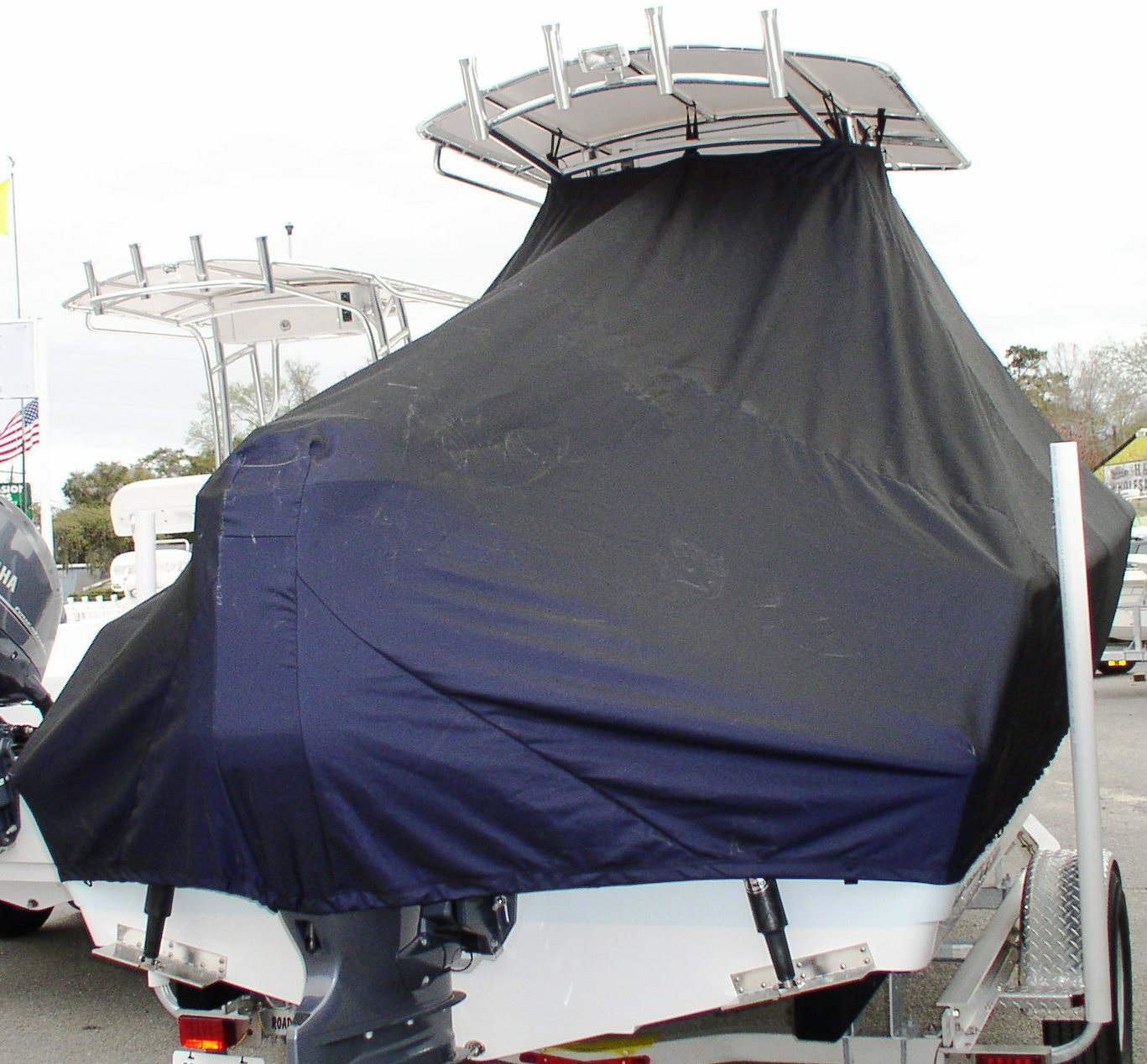 Sportsman Heritage 211, 20xx, TTopCovers™ T-Top boat cover rear