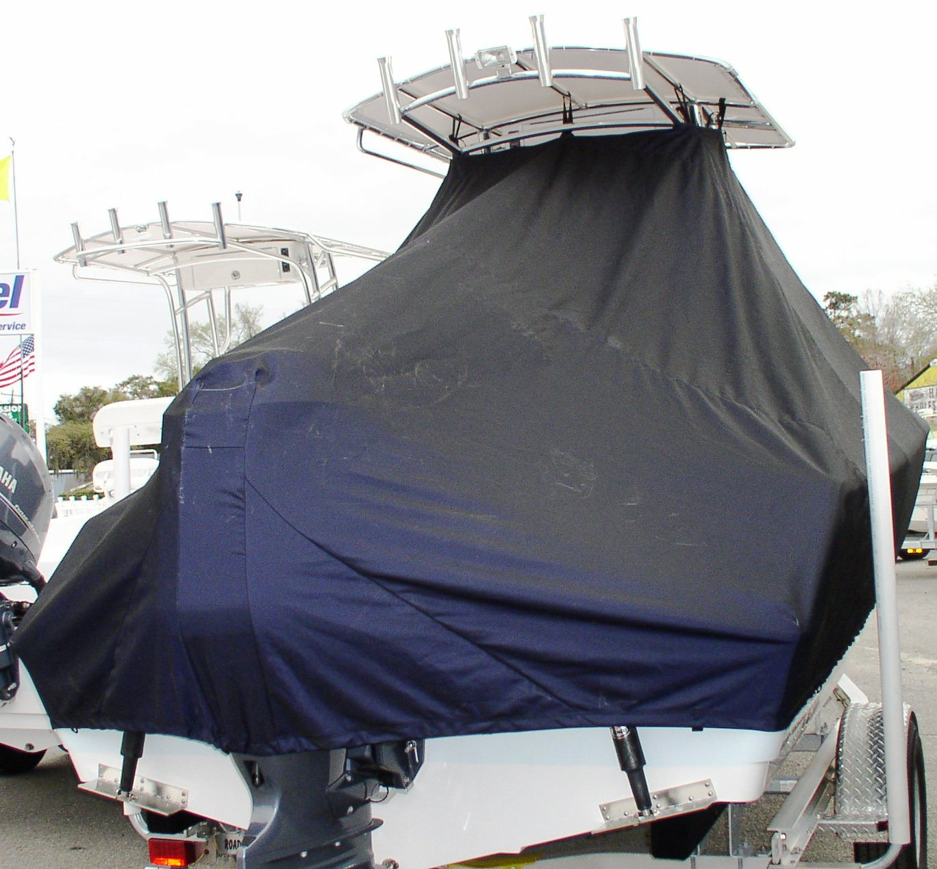 Sportsman Heritage Platinum 211, 20xx, TTopCovers™ T-Top boat cover, starboard rear