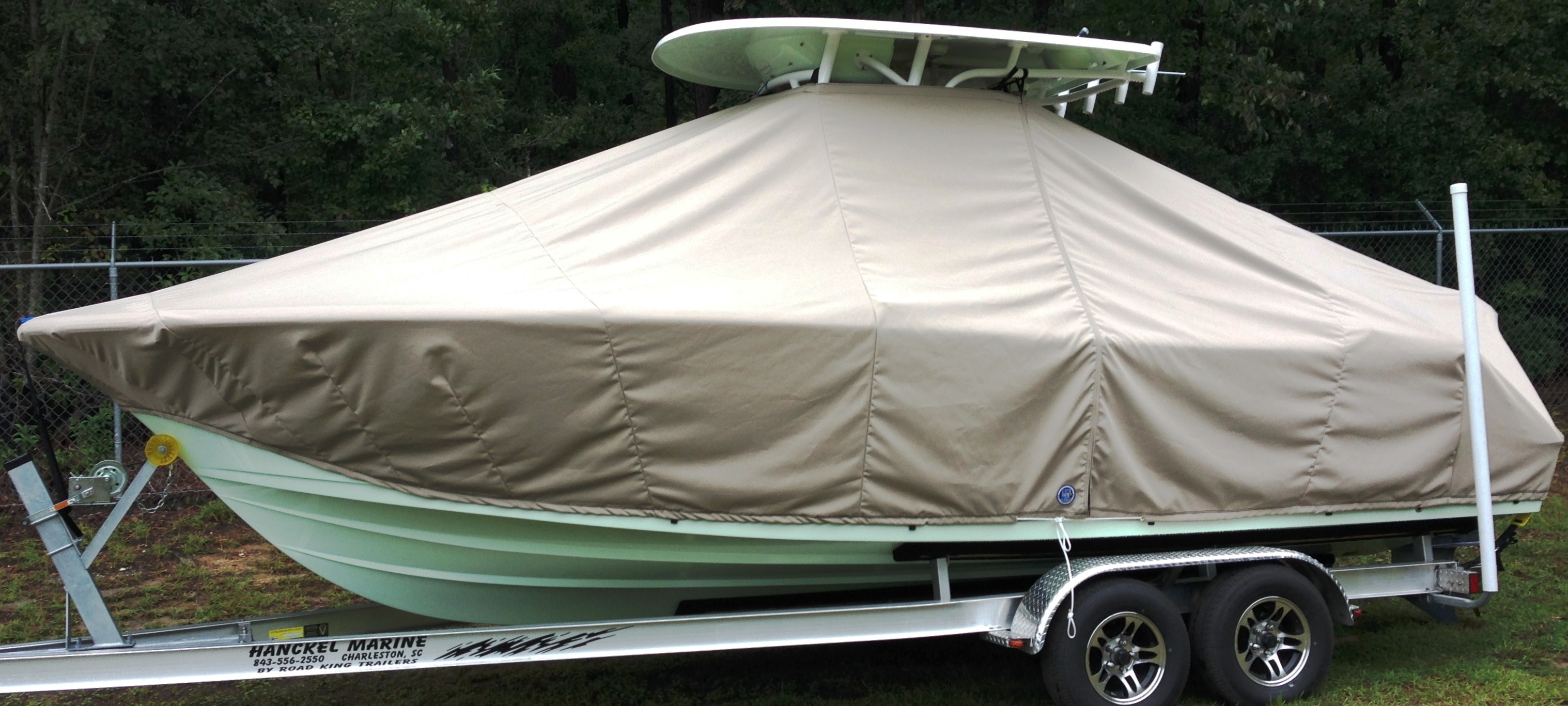 Sportsman Heritage Platinum 231, 20xx, TTopCovers™ T-Top boat cover, port side