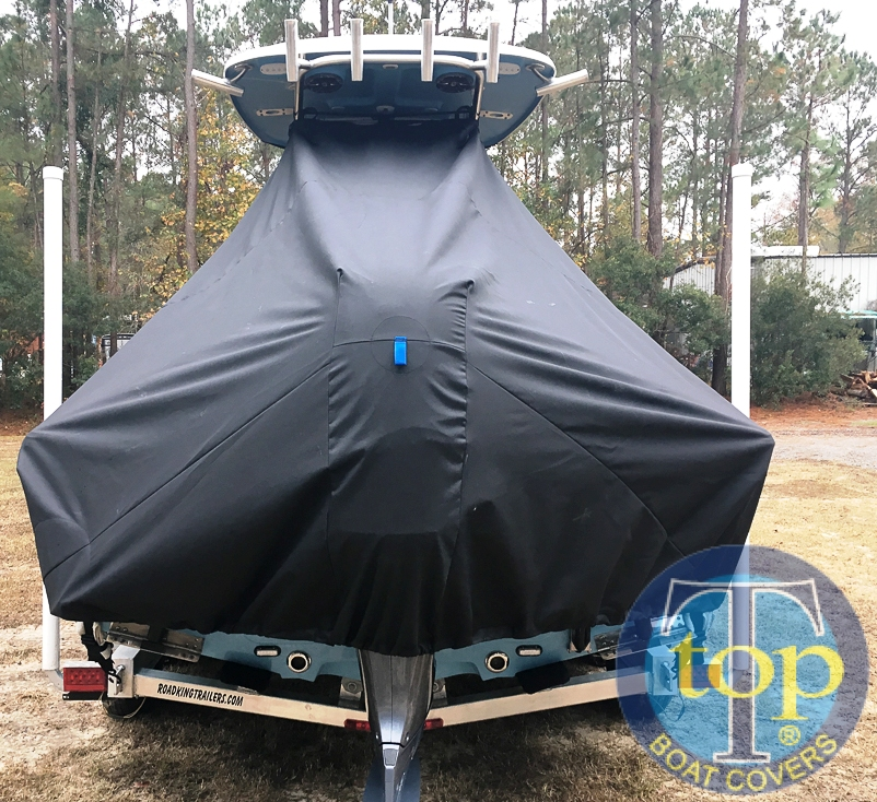 Sportsman Masters Platinum 227, 20xx, TTopCovers™ T-Top boat cover rear