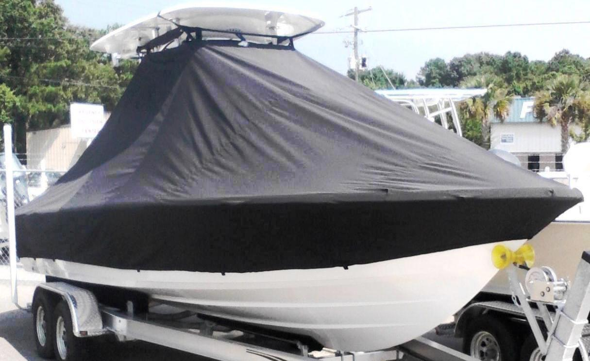 Sportsman Masters Platinum 247, 20xx, TTopCovers™ T-Top boat cover, starboard front