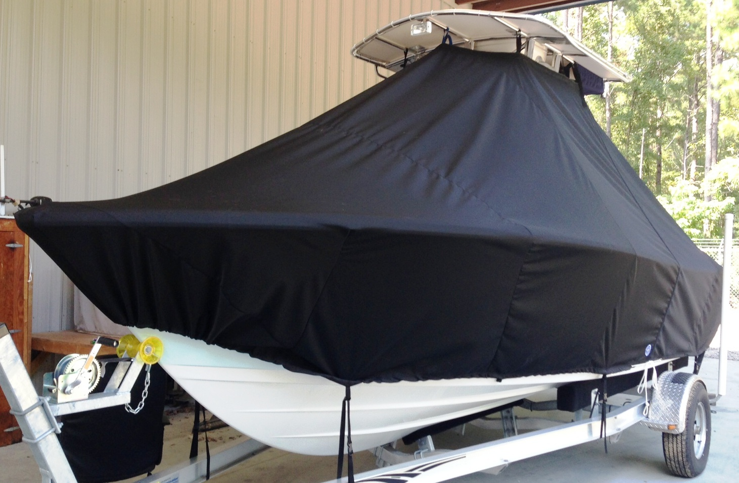 Sportsman Open 212, 20xx, TTopCovers™ T-Top boat cover, port front