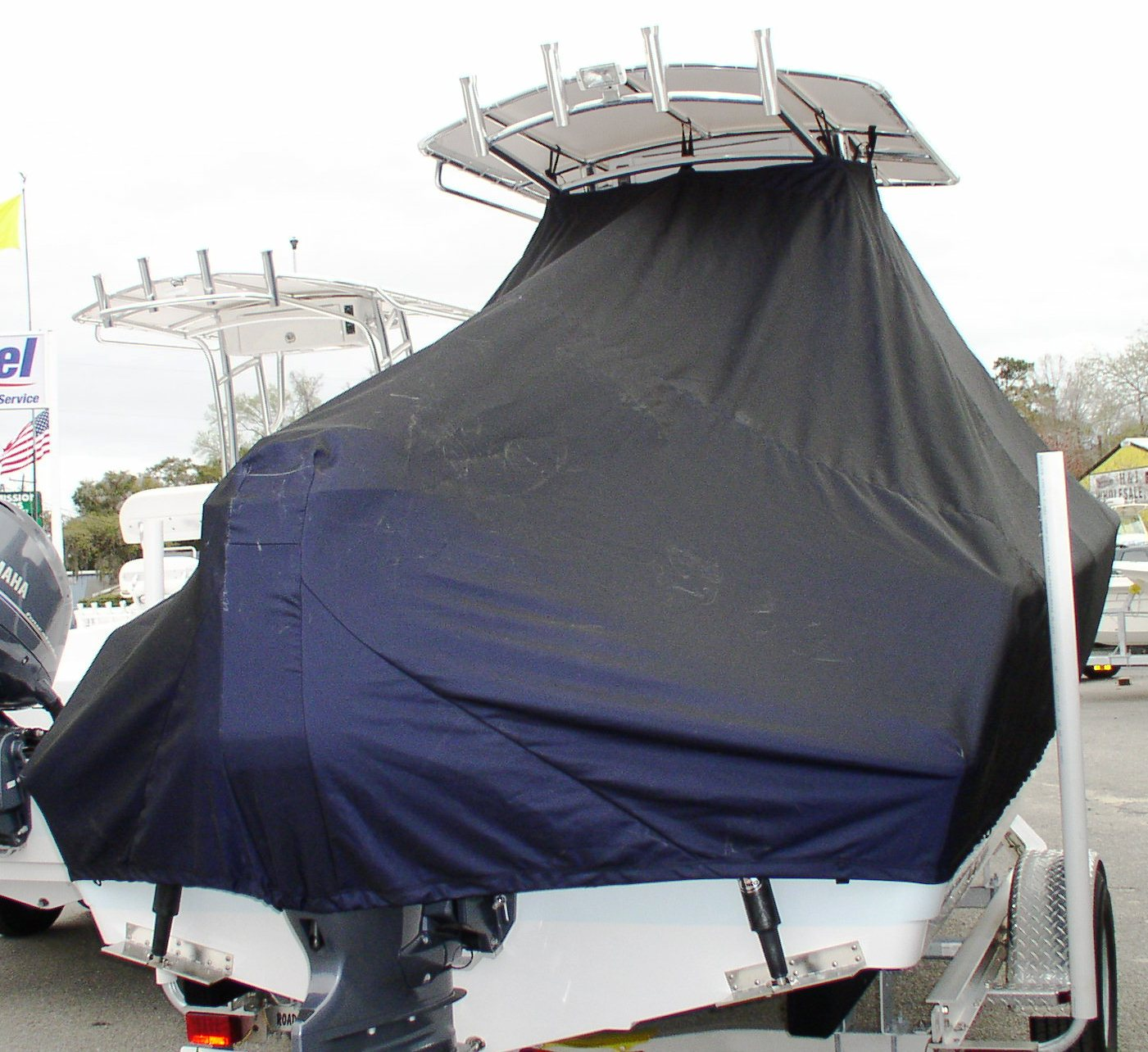 Sportsman Open 212, 20xx, TTopCovers™ T-Top boat cover rear