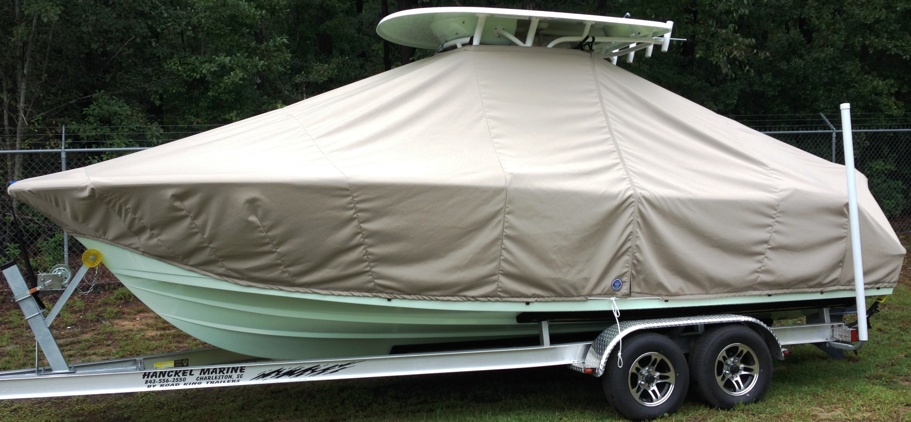 Sportsman Open 232 Platinum, 20xx, TTopCovers™ T-Top boat cover, port side