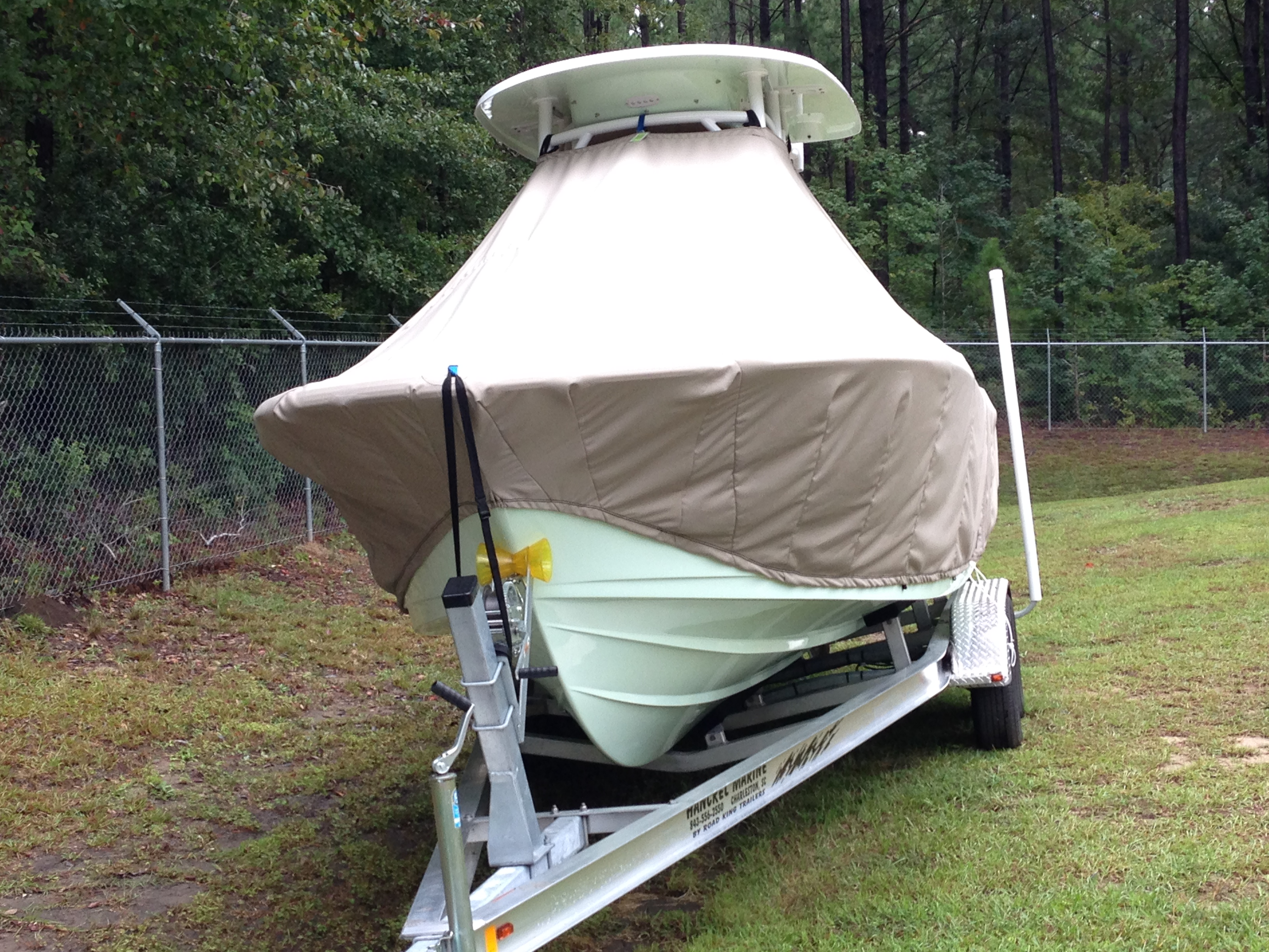 Sportsman Open 232, 20xx, TTopCovers™ T-Top boat cover front