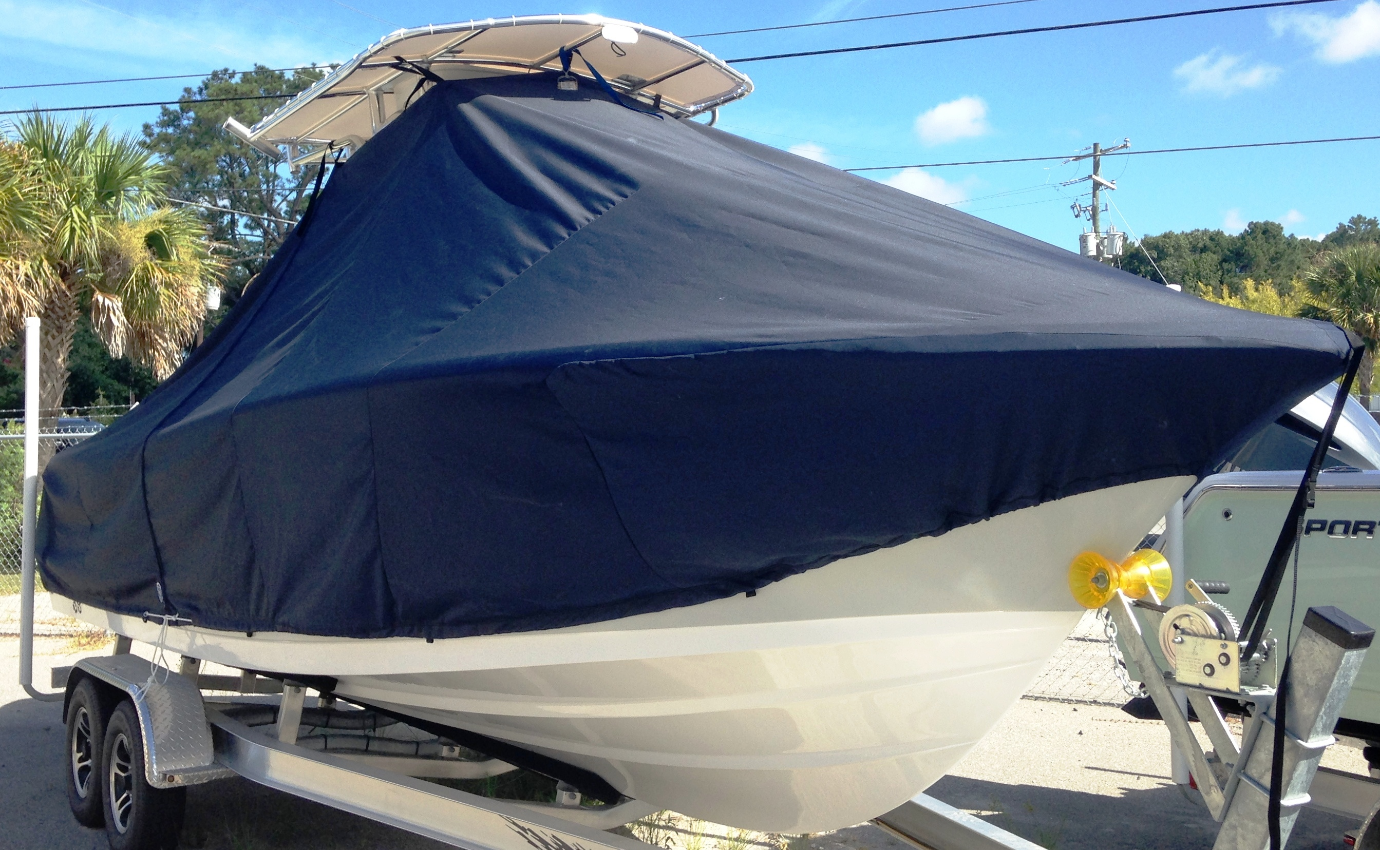 Sportsman Open 232, 20xx, TTopCovers™ T-Top boat cover, starboard front