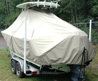 TTopCover™ Sportsman, Open Platinum 232, 20xx, T-Top Boat Cover, Sand, port rear
