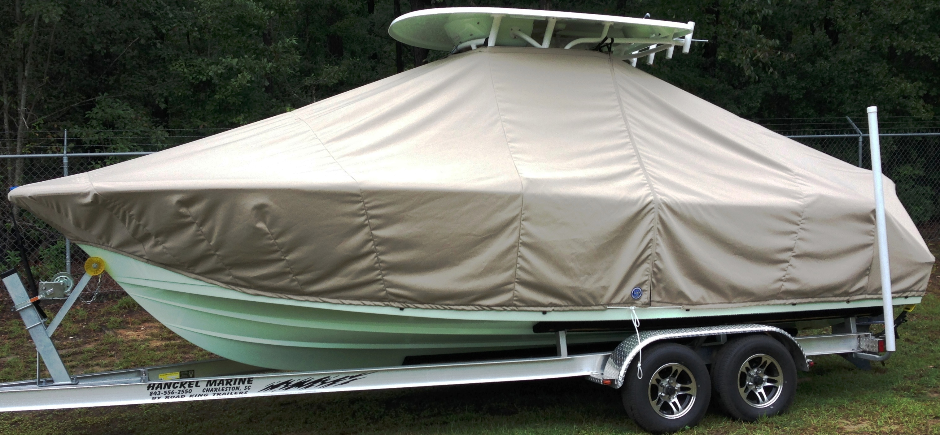 Sportsman Open Platinum 232, 20xx, TTopCovers™ T-Top boat cover, port side