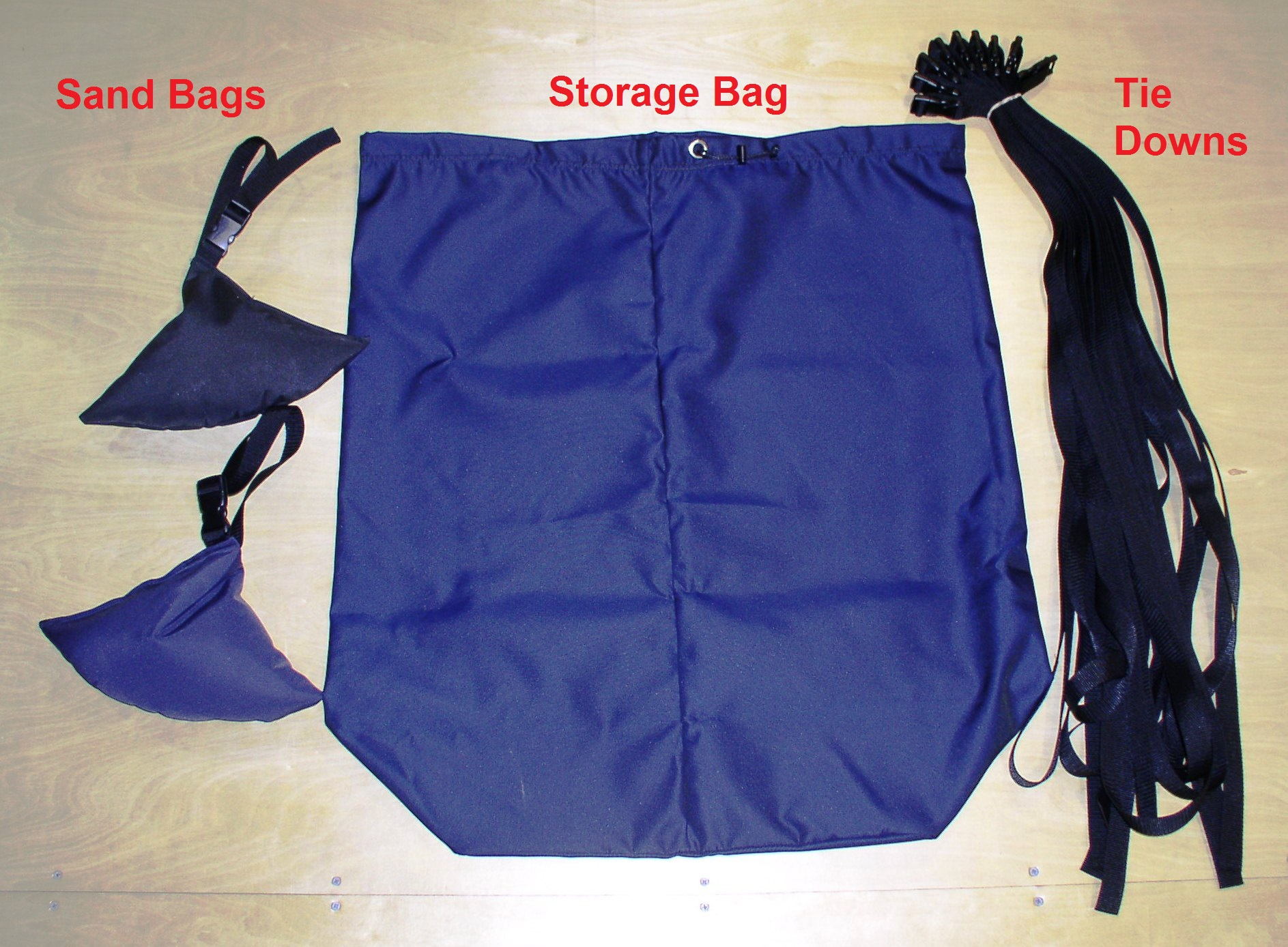 T Top Boat Cover Sand Bags Storage Bag Tie Downs Navy Blue
