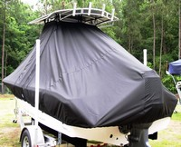 Photo of Tidewater® 198CC 20xx T-Top Boat-Cover, viewed from Port, Rear