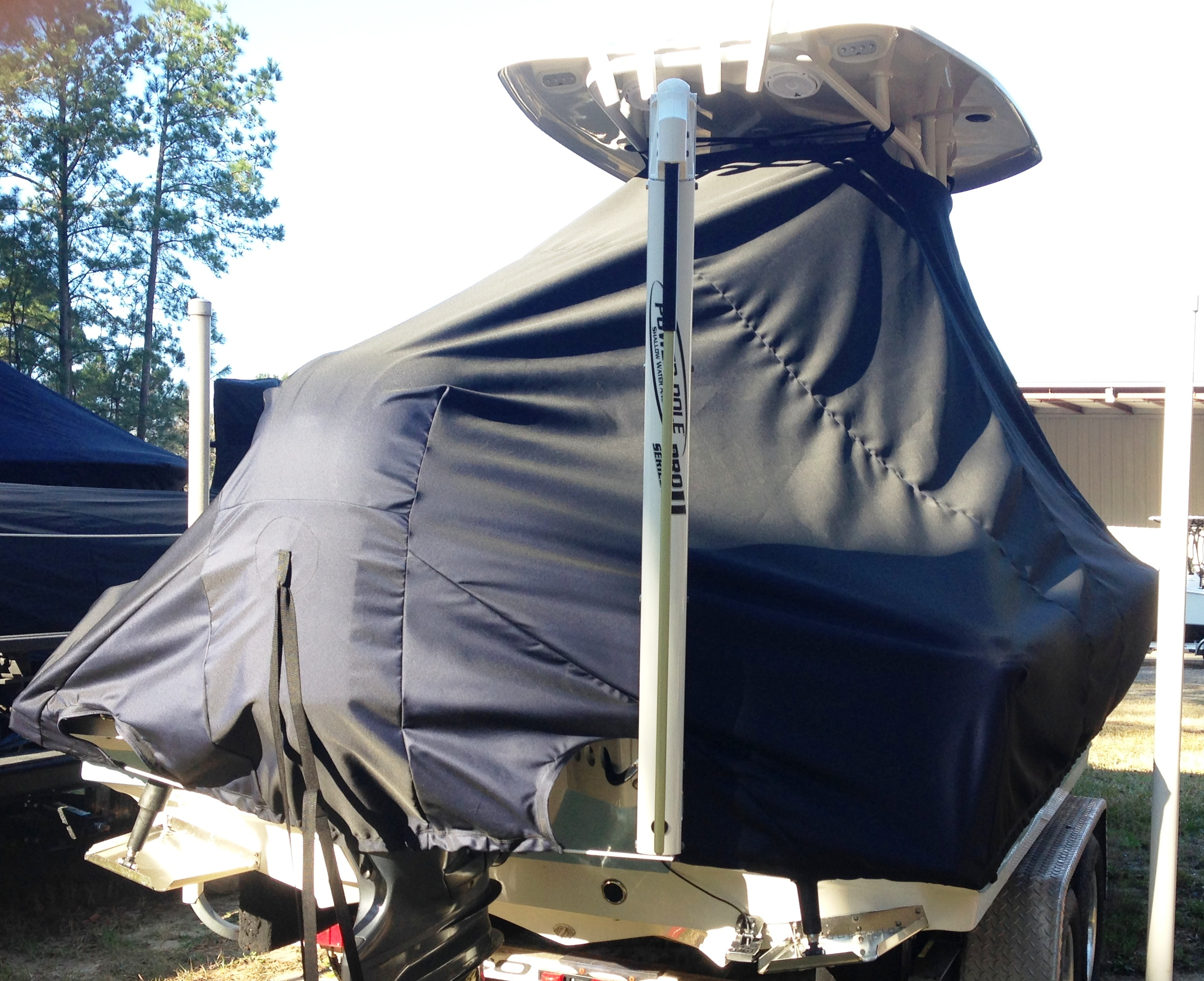 Tidewater, 2000 Carolina Bay, 20xx, TTopCovers™ T-Top boat cover Power Pole, starboard rear