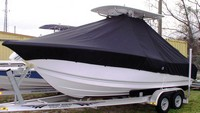 Photo of Tidewater® 216CC 20xx T-Top Boat-Cover, viewed from Port Side