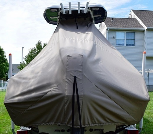Tidewater 220LXF, 20xx, TTopCovers™ T-Top boat cover rear