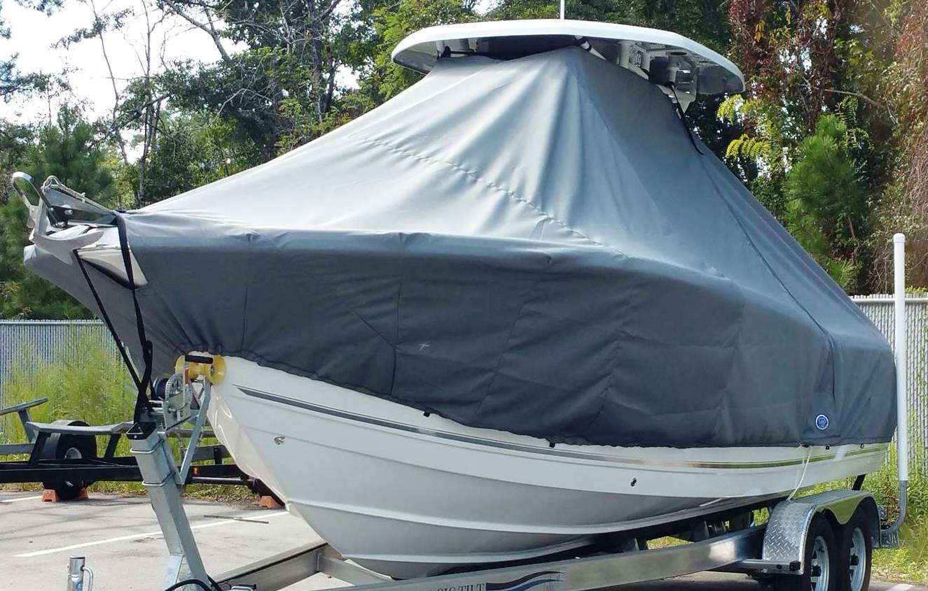 Tidewater 230CC, 2015, TTopCovers™ T-Top boat cover with Factory Bow Anchor Roller Elite 9 ounce Charcoal Grey RNR Marine Order 152856, port front
