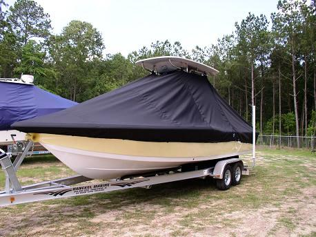 Tidewater 2400 Bay Max, 20xx, TTopCovers™ T-Top boat cover Front 503