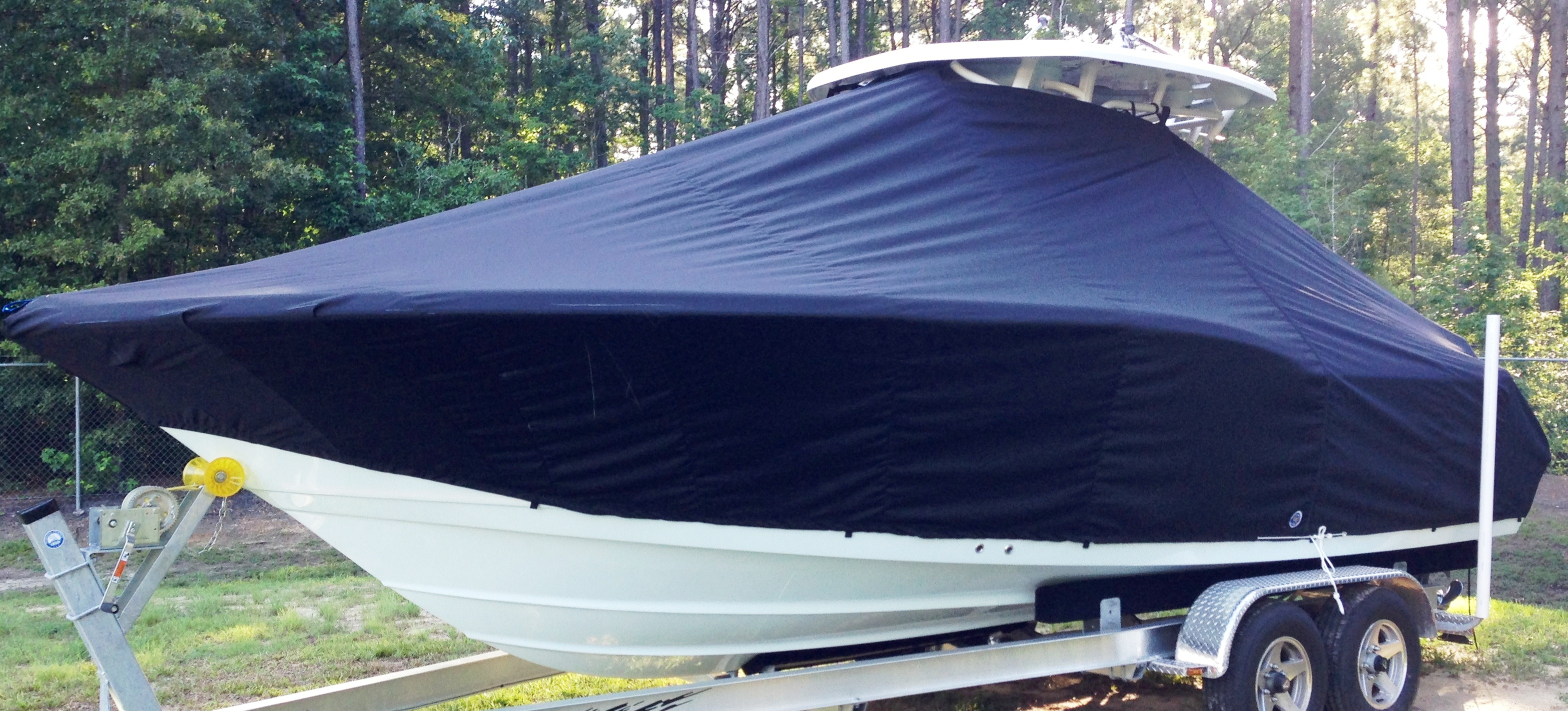 Tidewater 250LXF, 20xx, TTopCovers™ T-Top boat cover, port front