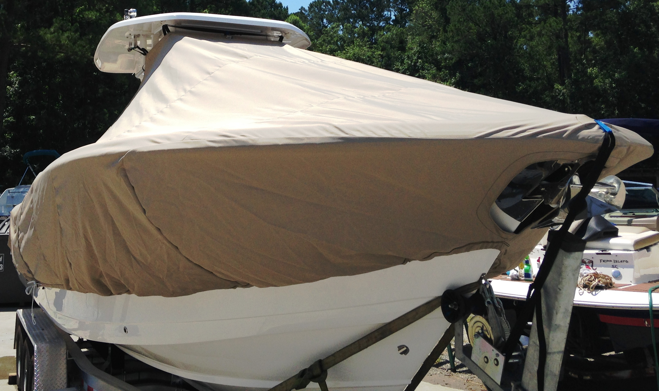 Tidewater 280CC, 20xx, TTopCovers™ T-Top boat cover, starboard front