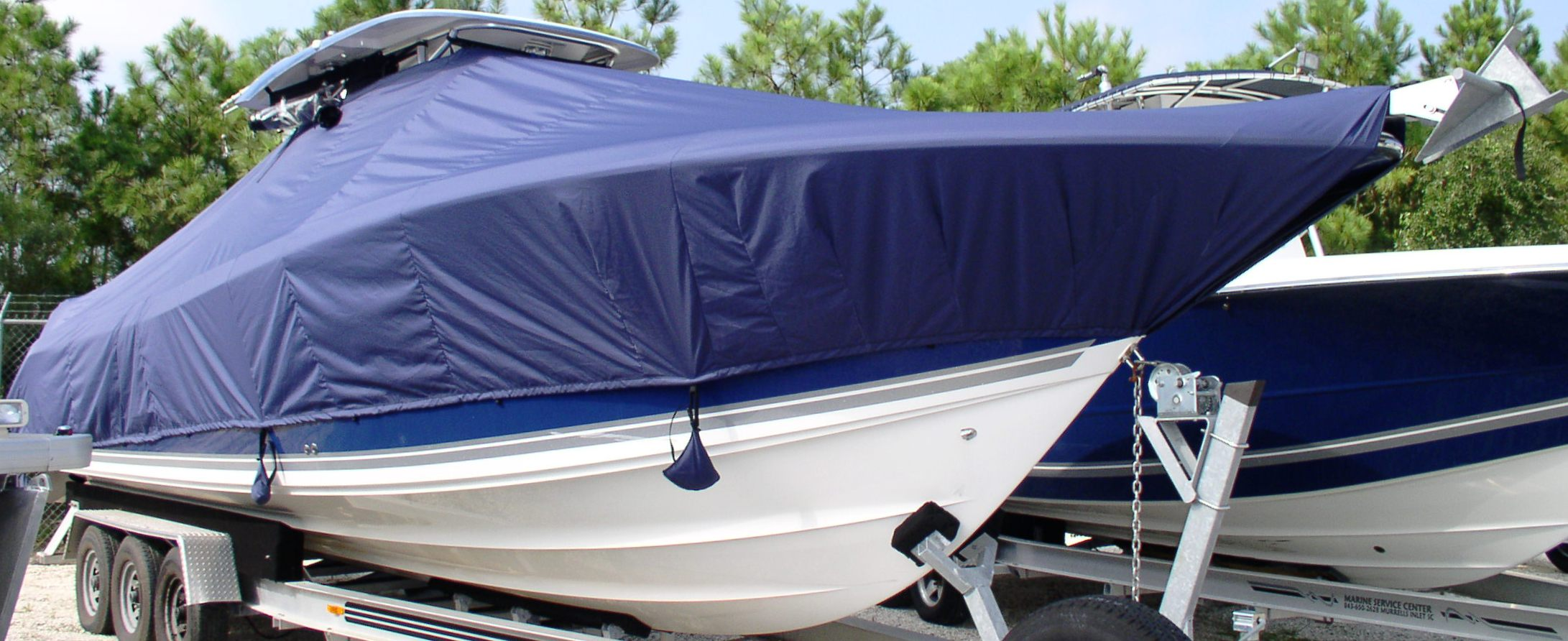 Triton 351CC, 20xx, TTopCovers™ T-Top boat cover Sand Bags, starboard front