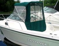 Photo of Trophy 2052 WA, 2005: Bimini Connector, Side-Curtains, Aft-Drop-Curtain, viewed from Port, Rear