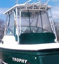 Photo of Trophy 2052 WA, 2005: Hard-Top, Front Connector, Side-Curtains, Aft-Drop-Curtains, viewed from Port, Rear