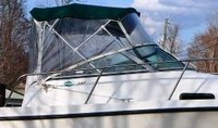 Photo of Trophy 2302 WA, 2002: Bimini Top, Front Connector, Side Curtains, Aft-Drop-Curtain, viewed from Starboard Side