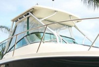 Photo of Trophy 2302 WA, 2002: Hard-Top, Front Connector, Side Curtains, Aft-Drop-Curtain, viewed from Starboard Side