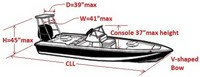 Flats-Boat-and-Poling-Platform-Cover-V-Bow-71319NA™Carver p/n 71319NA Cover for V-Bow Flats-Boat with Poling Platform with CENTERLINE LENGTH = 19-ft,6-in , BEAM = 85 inches wide, Max. Console-Height of 30 inches above Floor and Poling-Platform up to 45-in High x 41-in Wide x 39-in Deep