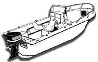 Center-Console-Boat-Cover-V-Hull-Single-Engine-High-Bow-Rail-Boat™Carver(r) Universal (non-OEM) Sunbrella(r) Center Console Fishing Boat Cover for  V-Hull, Single Engine, High Bow Rail Boat  with V-Bow, NO T-Top