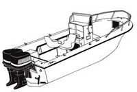 Center-Console-Boat-Cover-V-Hull-Twin-Engine-High-Bow-Rail-Boat-27™Carver(r) p/n 70027A Universal (non-OEM) Sunbrella(r) Center Console Fishing Boat Cover for 26ft,7in-27ft,6in CLL, 85-inch BEAM V-Hull, Twin Engine, High Bow Rail Boat  with V-Bow, No T-Top, Up to 18-inch High Bow Rails, Console Height (including Windshield and Grab Rails) up to 50-inch above deck