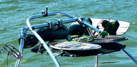 "Wakeboard-Tower-Cargo-Rack-Bimini-Top-Black-G™BLACK Sunbrella(r) ""Shade N' Store""(tm)  by Great-Lakes Boat Top Co.(r) . To truly enjoy a long day on the water, you need a bimini top. When you have a wakeboard tower, it usually means you need a special bimini top. This Wakeboard-Tower Bimini-Top Cargo-Rack is truly special. Innovative in its design and universal in its fit, the Wakeboard-Tower Bimini-Top Cargo-Rack is both a shade provider and storage solution by holding up to 3 wakeboards or 1 large inflatable tube on top. Just release two clamps and tilt the top down to easily load and unload. Enjoy the shade. Enjoy the storage. Enjoy the extra space it gives you in your boat. 48 or 60 inch width to fit any Wakeboard Tower"