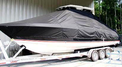 Wellcraft Scarab 302 Sport T Top, 19xx, TTopCovers™ T-Top boat cover, port front