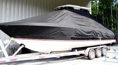 Wellcraft Scarab 30T, 20xx, TTopCovers™ T-Top boat cover, port front