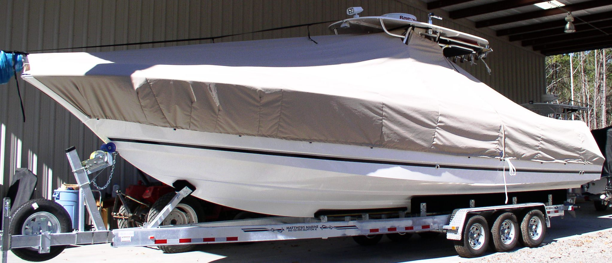 Wellcraft Scarab 35 Tournament, 20xx, TTopCovers™ T-Top boat cover, port front